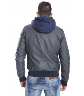 DIKTAT Jacket in eco-leather DARK GREY D77441 Made in Italy