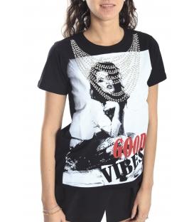 ALMAGORES T-shirt con perline e stampa NERO Art. 541AL61601