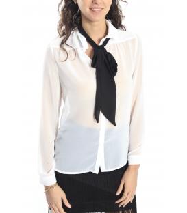 ALMAGORES Camicia / Blusa georgette con fiocco BIANCO Art. 541AL40402