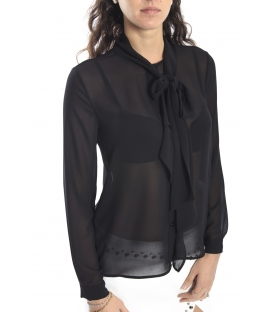 ALMAGORES Shirt georgette with bow-tie BLACK Art. 541AL40405