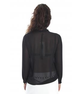 ALMAGORES Camicia / Blusa georgette con cravattino NERO Art. 541AL40405