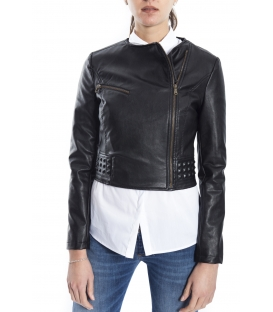ALMAGORES Biker jacket Short faux-leather BLACK Art. 541AL30330