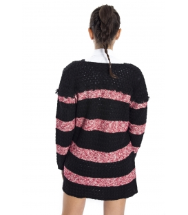 ALMAGORES Cardigan with stripes BLACK and BORDEAUX Art. 541AL50502