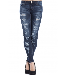 ALMAGORES Skinny dark jeans with rips DENIM Art. 541AL26204