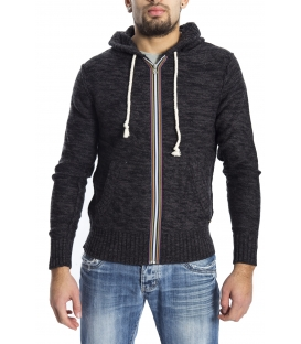 GRAFFIO Sweater with zip and hood DARK GREY / BLACK Art. WGU133