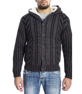 GRAFFIO Sweater with hood and fur inside DARK GREY/BLACK Art. WGU121
