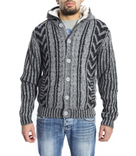 GRAFFIO Sweater with hood and fur inside GREY/BLACK Art. WGU121