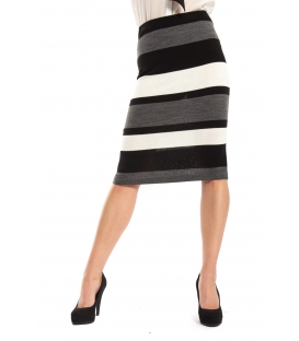 MARYLEY Skirt with stripes FANTASY GREY Art. B72C MADE IN ITALY