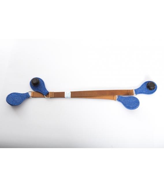 Micromanici cuoio e feltro Blu avio