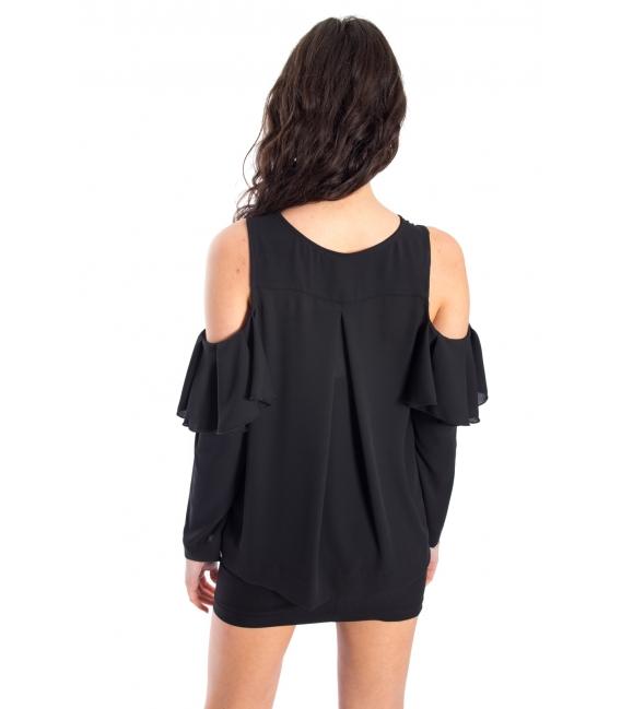 DENNY ROSE Camicia/Blusa con voulant NERO 52DR42001