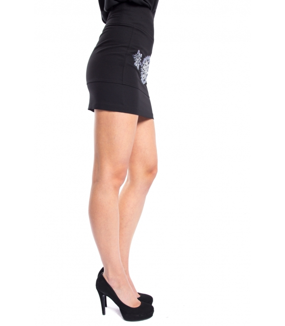 DENNY ROSE Skirt with studs and zip BLACK 52DR72000