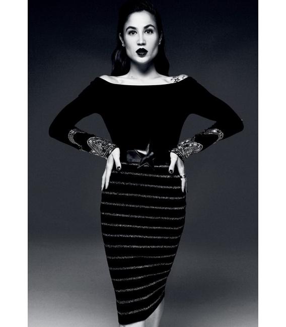 DENNY ROSE Skirt with stripes BLACK/SILVER 52DR52006