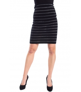 DENNY ROSE Skirt with stripes BLACK/SILVER 52DR52006