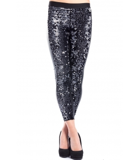 DENNY ROSE Leggings in eco-leather with paillettes BLACK 52DR22001