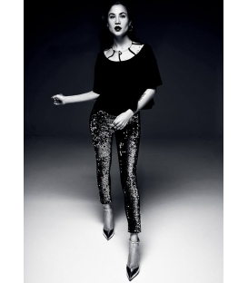 DENNY ROSE Leggings in ecopelle con paillettes NERO 52DR22001