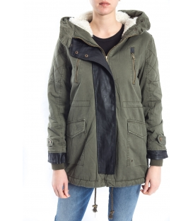 SLIDE OF LIFE Parka in eco-leather with zip and buttons art. PKA02