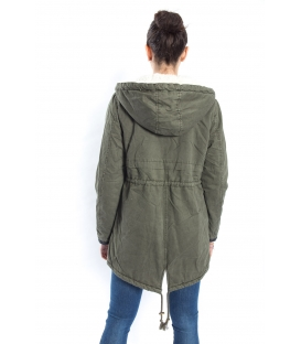 SLIDE OF LIFE Parka with eco-leather details GREEN art. PKA03