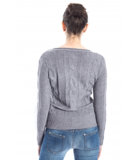 SLIDE OF LIFE Sweater with braids GREY art. ELA17