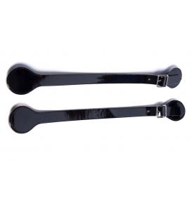 Manici corti in ecopelle vernice nero con fibbia