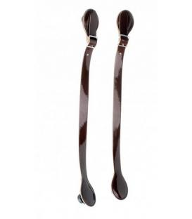 Manici corti in ecopelle vernice marrone scuro con fibbia