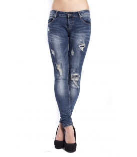 Jeans woman slim fit with rips DENIM ZJ8819