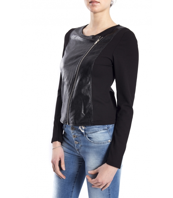 Jacket in eco-leather with asymmetric zip BLACK art. AL102