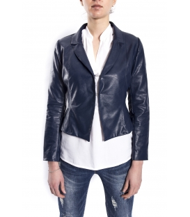 SUSY MIX Jacket in eco-leather BLUE art. 612