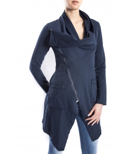 SUSY MIX Sweashirt asymmetric with zip BLUE art. 675