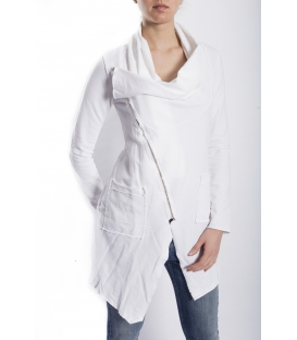 SUSY MIX Sweashirt asymmetric with zip WHITE art. 675