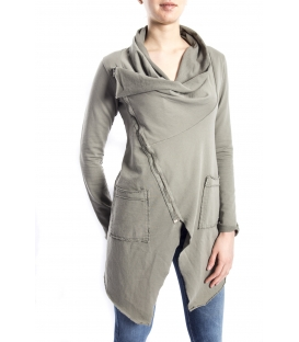 SUSY MIX Sweashirt asymmetric with zip GREEN art. 675