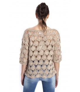 SUSY MIX Perforated sweater BEIGE art. 52509