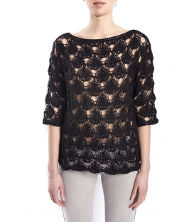 SUSY MIX Perforated sweater BLACK art. 52509