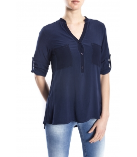 SUSY MIX Camicia serafino con bottoni BLU art. 43112MP