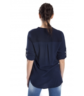 SUSY MIX Shirt serafino with buttons BLUE art. 43112MP
