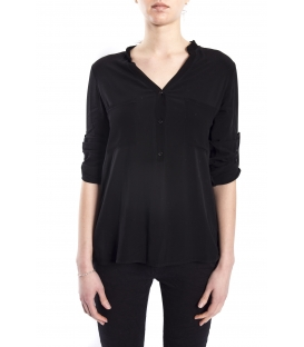 SUSY MIX Shirt serafino with buttons BLACK art. 43112MP