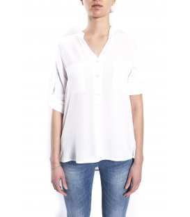SUSY MIX Camicia serafino con bottoni BIANCO art. 43112MP