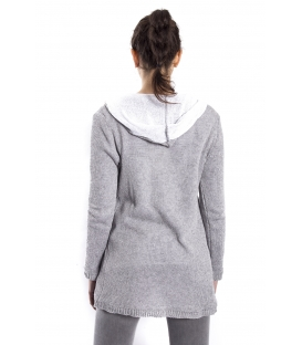 SUSY MIX Long cardigan with hood GRIGIO art. 6022