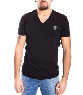 ANTONY MORATO T-shirt MAN V neck with logo BLACK MMKS00738