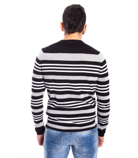 ANTONY MORATO Sweater MAN with stripes BLACK/GREY MMKS00510