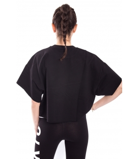 STK SUPER TOKYO T-shirt DONNA con scritta obliqua NERO STKD094