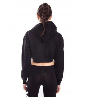 STK SUPER TOKYO Short sweatshirt WOMAN with print BLACK STKD070