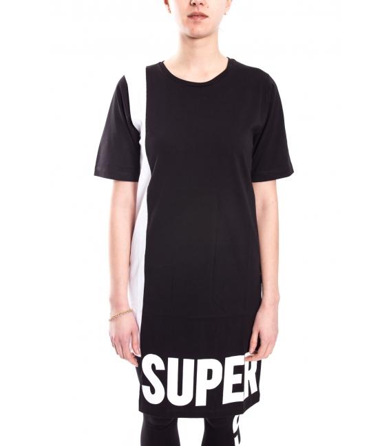 STK SUPER TOKYO T-shirt lunga DONNA con scritta NERO STKD102
