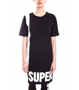 STK SUPER TOKYO Long T-shirt WOMAN with print BLACK STKD102