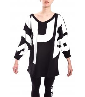 STK SUPER TOKYO Maxi sweatshirt WOMAN with print BLACK STKD092