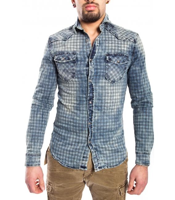 Cj 9023 Quadretti Jeans Uomo Blu Stampa Con Camicia CxrBodWe