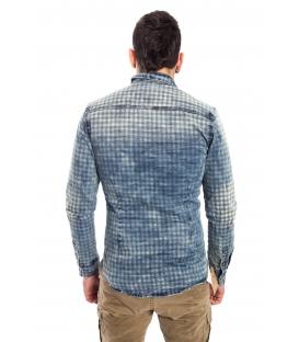 Shirt UOMO with square print BLUE CJ-9023