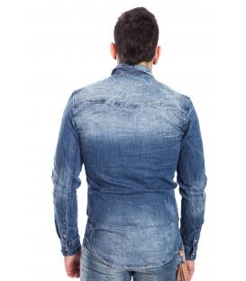 Camicia jeans UOMO con strappetti DENIM Art. J-9028