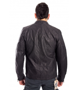 Jacket MAN in eco-leather GREY / BLACK Art. GP-1587