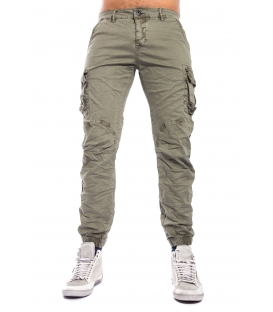 MAN trousers with pockets and elastic bottom ARMY J-9065