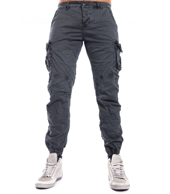 MAN trousers with pockets and elastic bottom GRAY J-9065